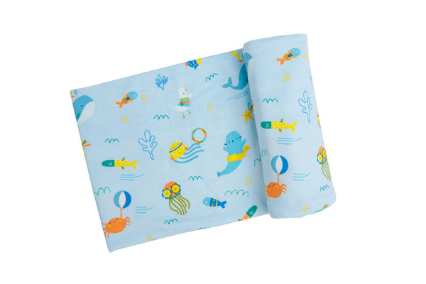 Sea Creatures Swaddle Blanket Blue (45 x 45)