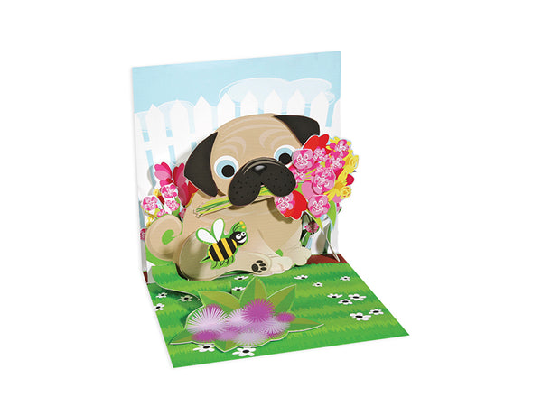 Pug Bouquet Mini Pop-Up Card