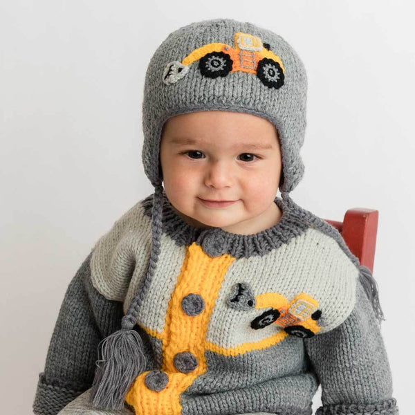 Huggalugs Digger Backhoe Knit Beanie Hat