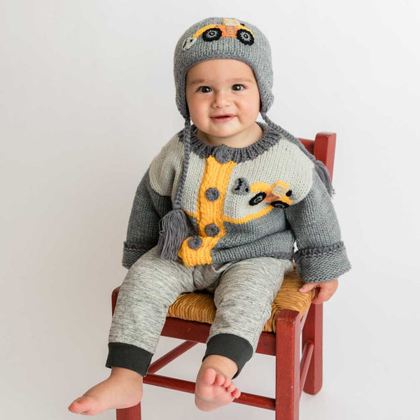 Huggalugs Digger Backhoe Knit Sweater