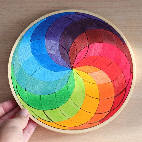 Grimm's Wooden Colorful Rainbow Circle Spiral, Small