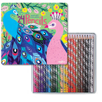 Peacock 24 Color Pencils Tin