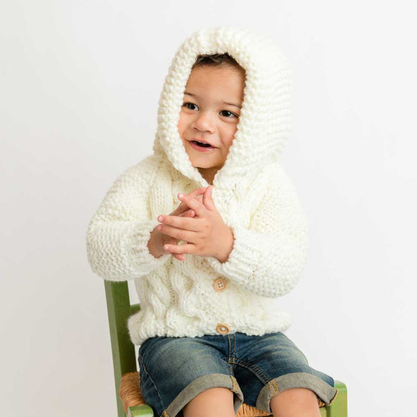 Huggalugs Cream Hooded Knit Coat Sweater