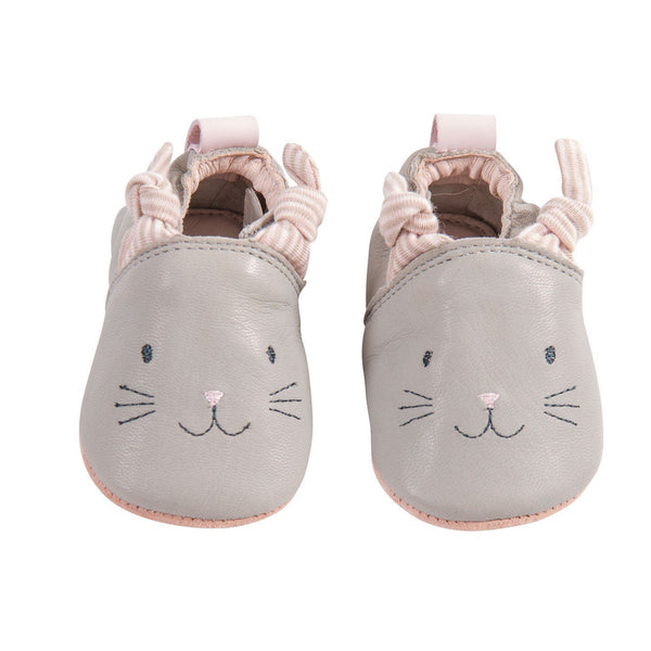 Grey Cat Leather Baby Slippers