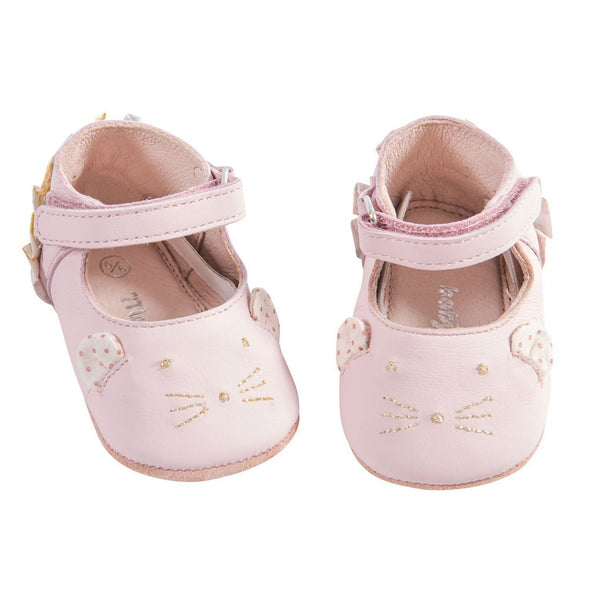 Pink Mouse Leather Baby Slippers