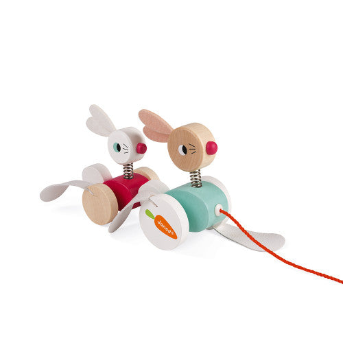 Zigolos Pull-Along Rabbits Wooden Toy