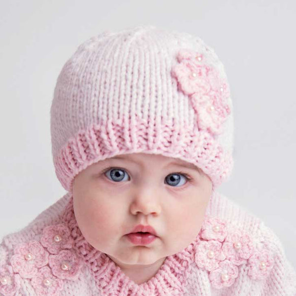 Huggalugs Pink Pearl Knit Beanie Hat