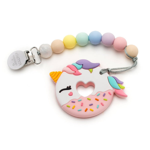 Unicorn Donut Silicone Teether Holder Set