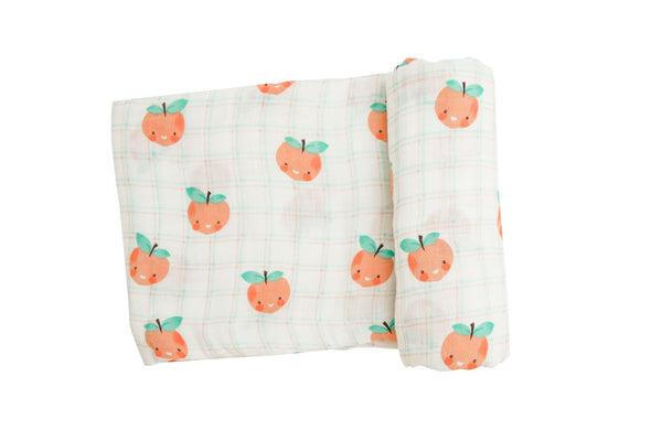 Plaid Peaches Swaddle Blanket Tropical Peach (47 x 47)