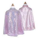 Reversible Silver Sequins / Pink Satin Cape
