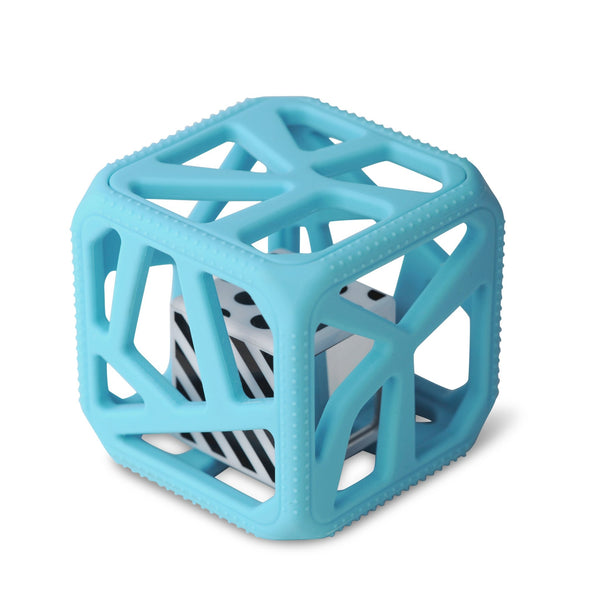 Chew Cube Teether Rattle Blue
