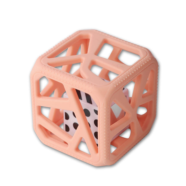 Chew Cube Teether Rattle Peachy Pink
