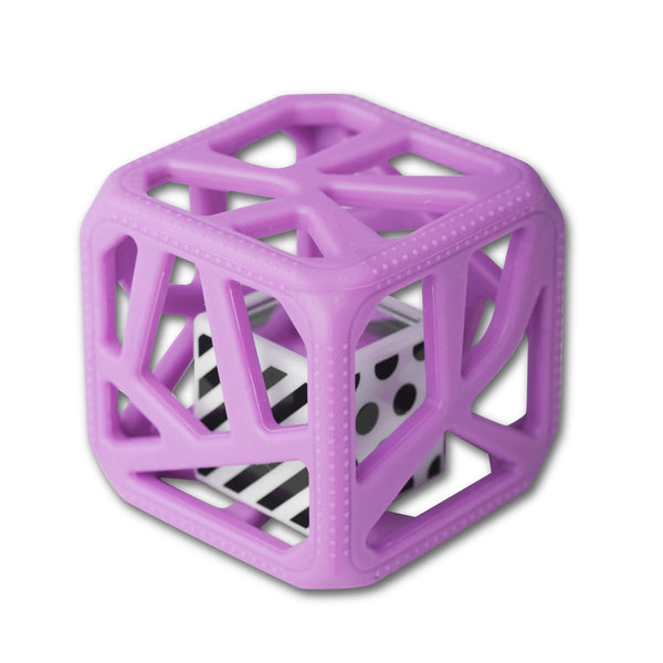 Chew Cube Teether Rattle Purple