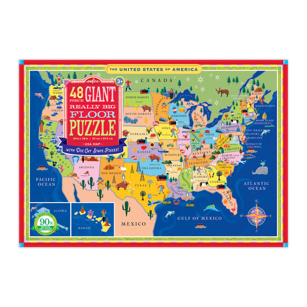 USA Map 48 Piece Giant Floor Puzzle