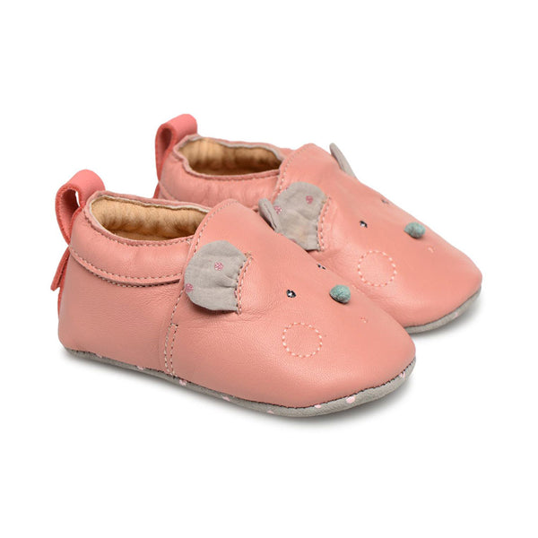 Pink & Gray Mouse Leather Baby Slippers