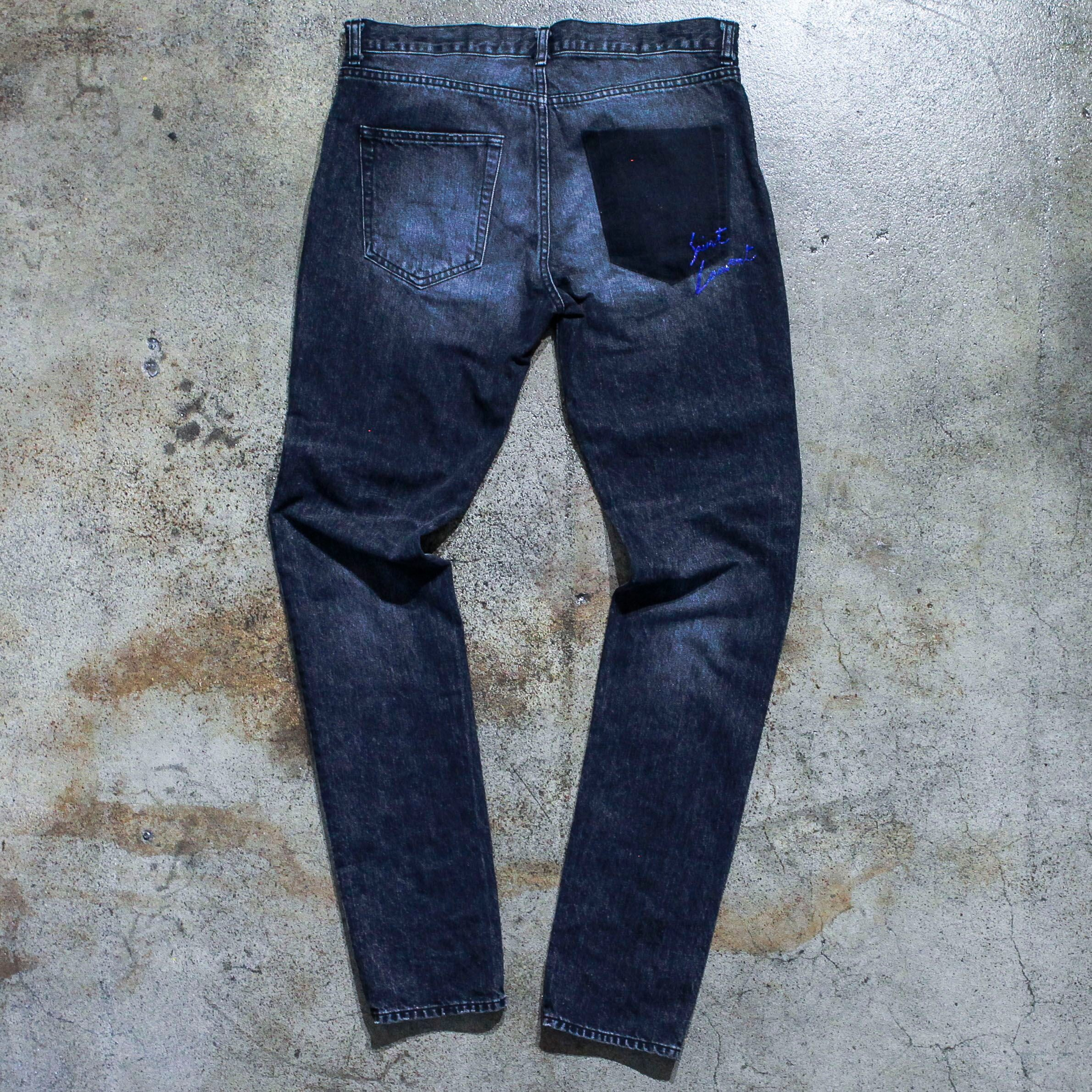Saint Laurent Washed Blue Denim Jeans