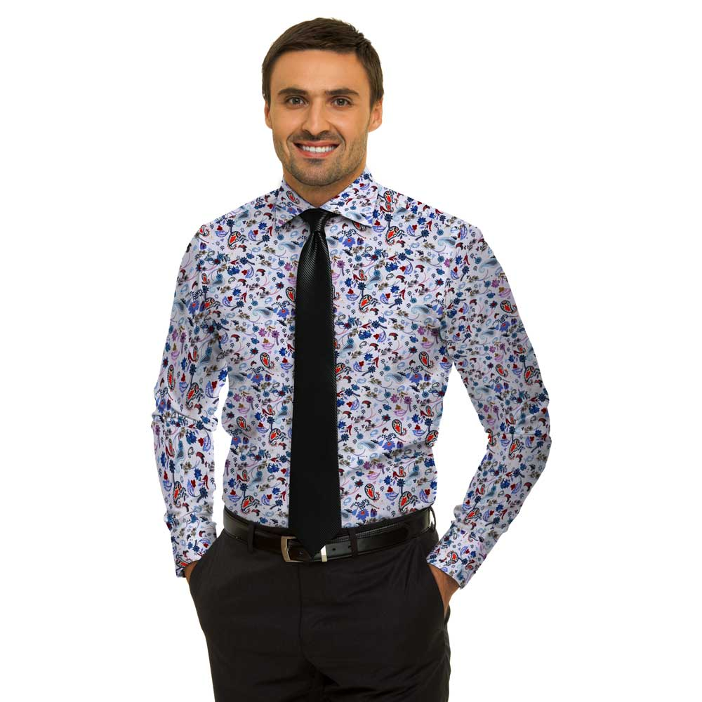 Shirt cotton white paisley, 100% cotton, long sleeve, cutaway collar, plain placket