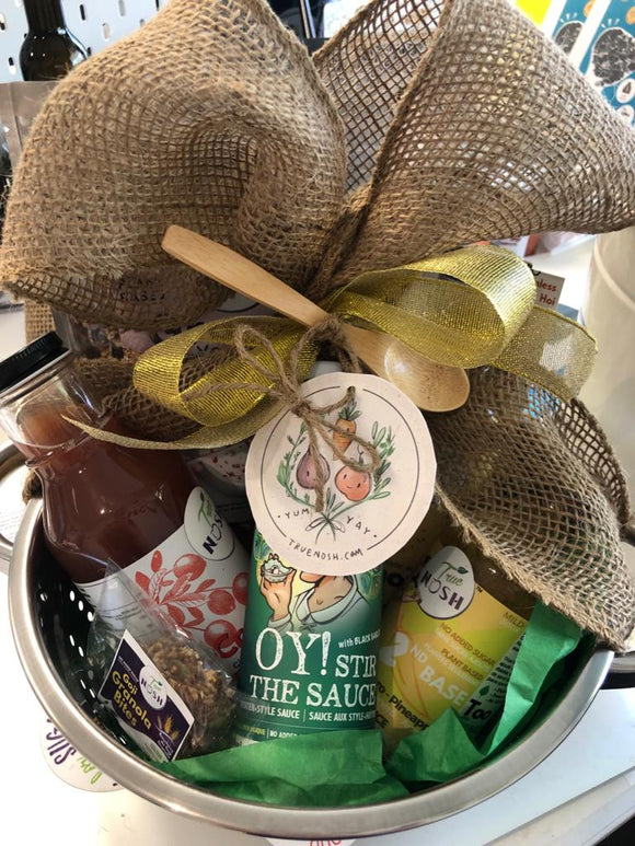 Gift Basket In A Colander- Wrapped PLASTIC-FREE