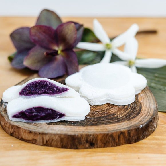 Dessert Mochi: Coconut Filled with Roasted Ube (Purple Sweet Potato), GF & V