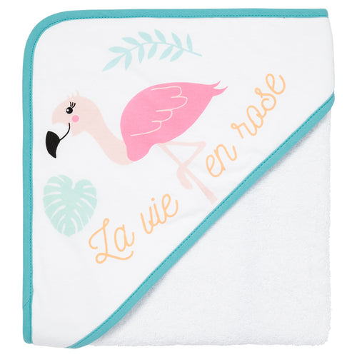 Cape de bain jersey 80x80 cm - Flamand rose - Babycalin