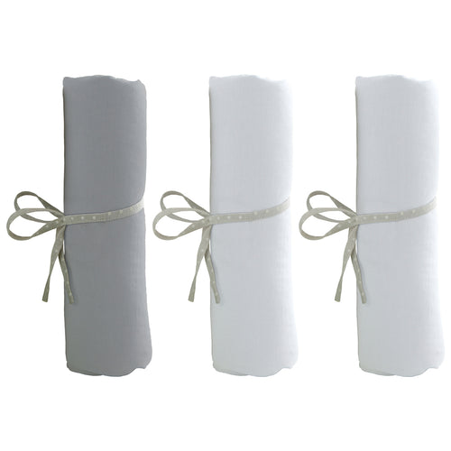 Lot de 3 draps housse 40x80cm - 2 blancs + 1 gris - Babycalin