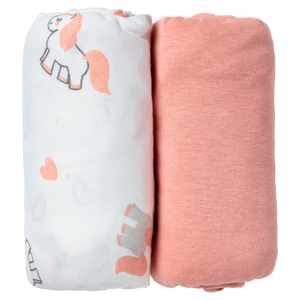 Lot de 2 draps housses 60x120 cm - Licorne/Rose - Babycalin