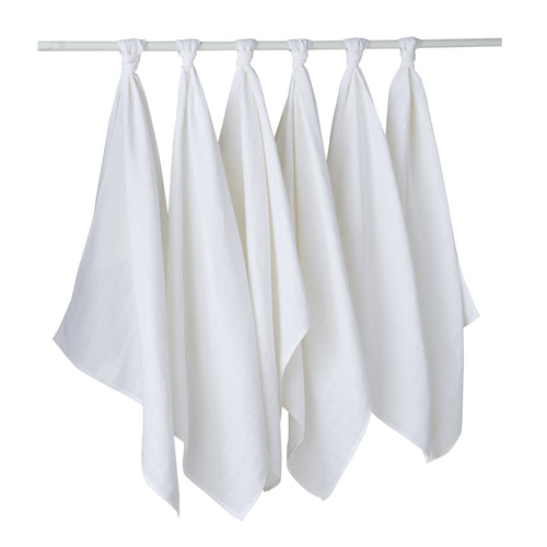 Lot de 6 langes unis en coton 50x70 cm - Blanc - Babycalin