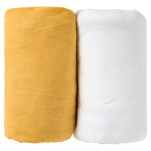 Lot de 2 draps housses unis 60x120 cm - Moutarde/Blanc - Babycalin
