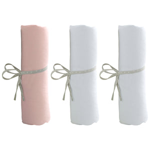 Lot de 3 draps housse 70x140 cm - 2 blancs + 1 rose - Babycalin