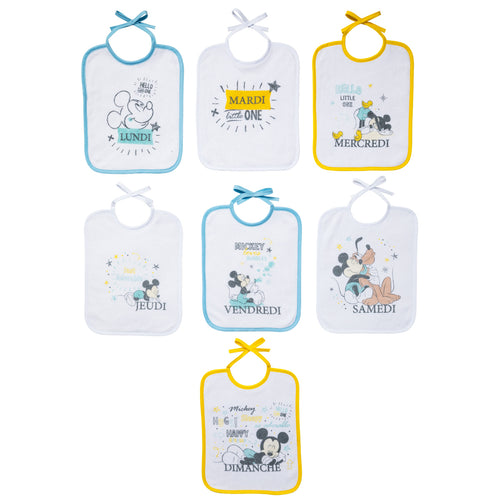 Lot de 7 bavoirs journaliers à lacets Mickey Little One - Naissance Disney Baby - BB Malin