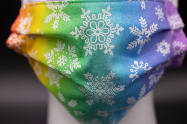 Rainbow Snowflakes Face Mask