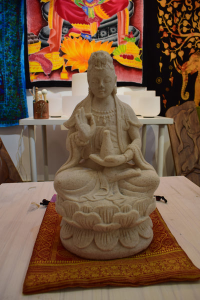 Seated Kwan Yin in Sandstone