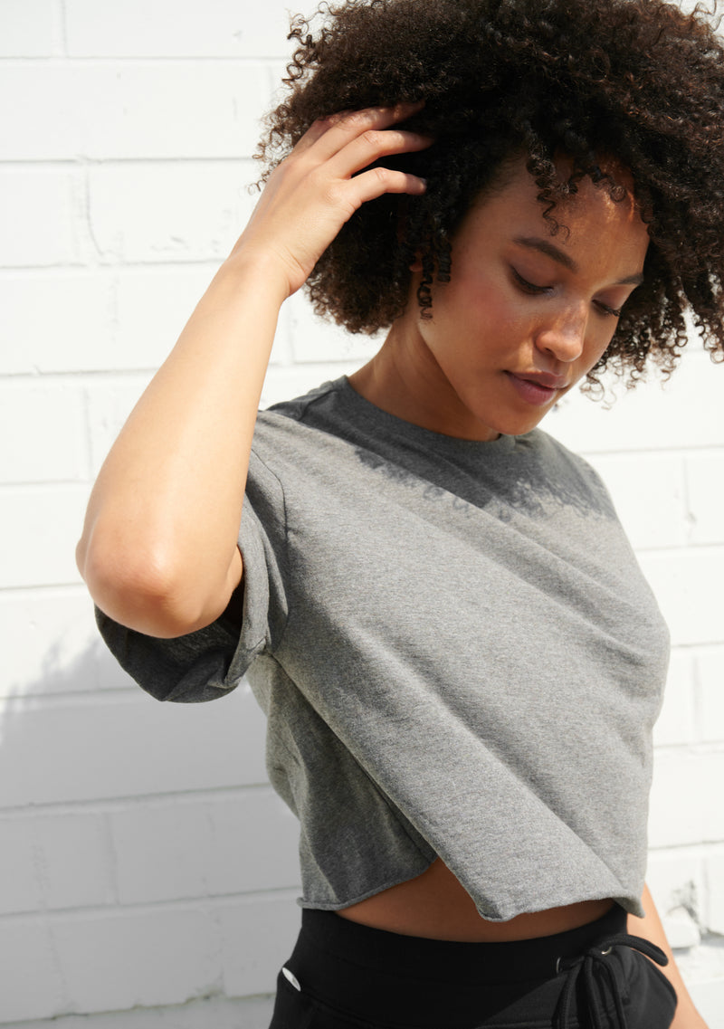 Rolled Sleeve Cropped T-Shirt