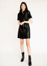 Faux Leather Button Up Shirt Dress