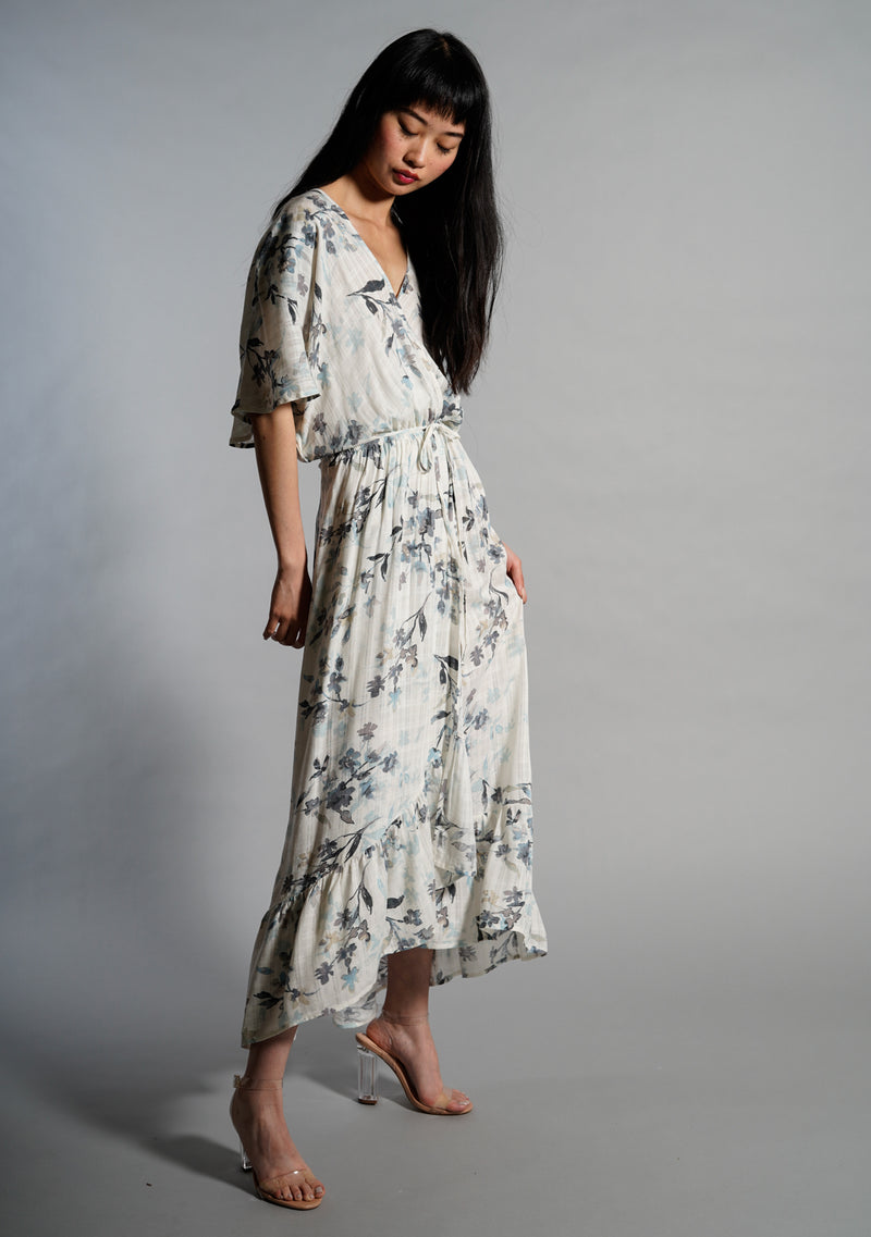 Printed Faux Wrap Maxi Dress