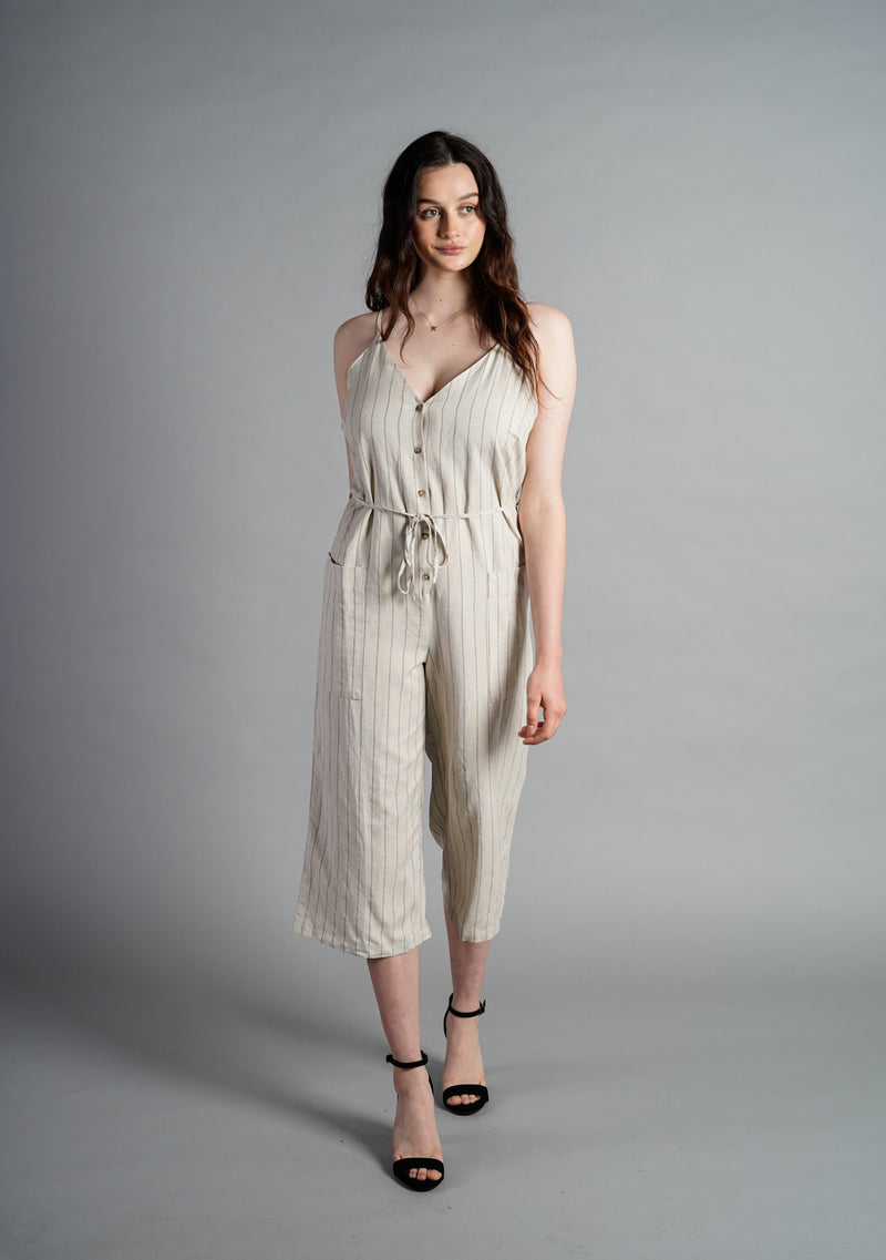 Pinstripe Button Down Jumpsuit