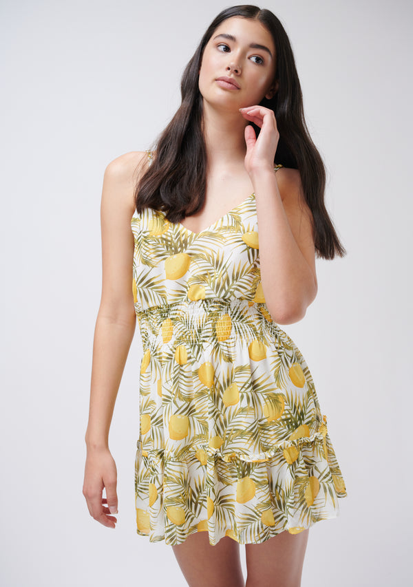 Lemon Printed Mini Dress