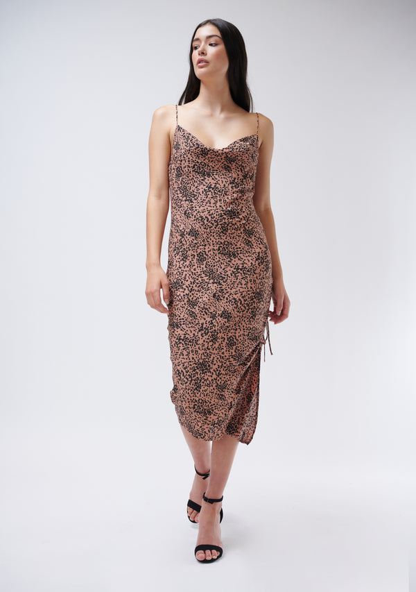 Animal Print Cowl Neck Midi Dress