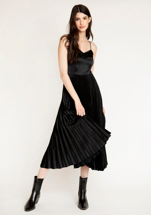 Satin Pleated Midi Dress