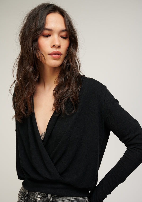 Long Sleeve Surplice Sweater