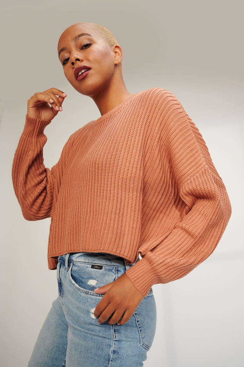 Cropped Ribbed Sweater