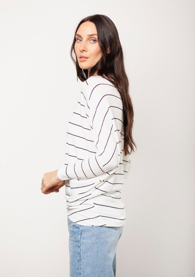 Verla Dolman Sleeve Stripe Sweater Top