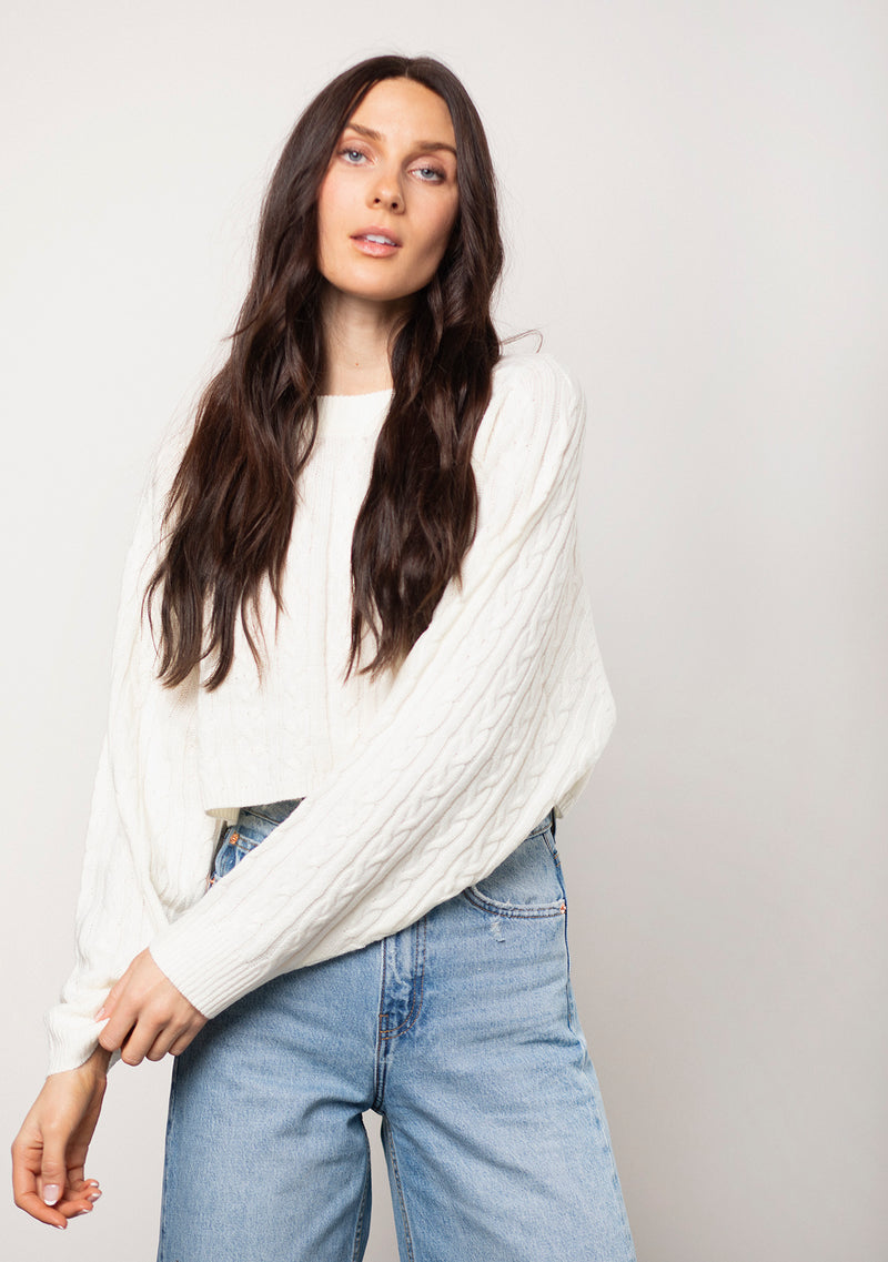 Cable Knit Cropped Sweater