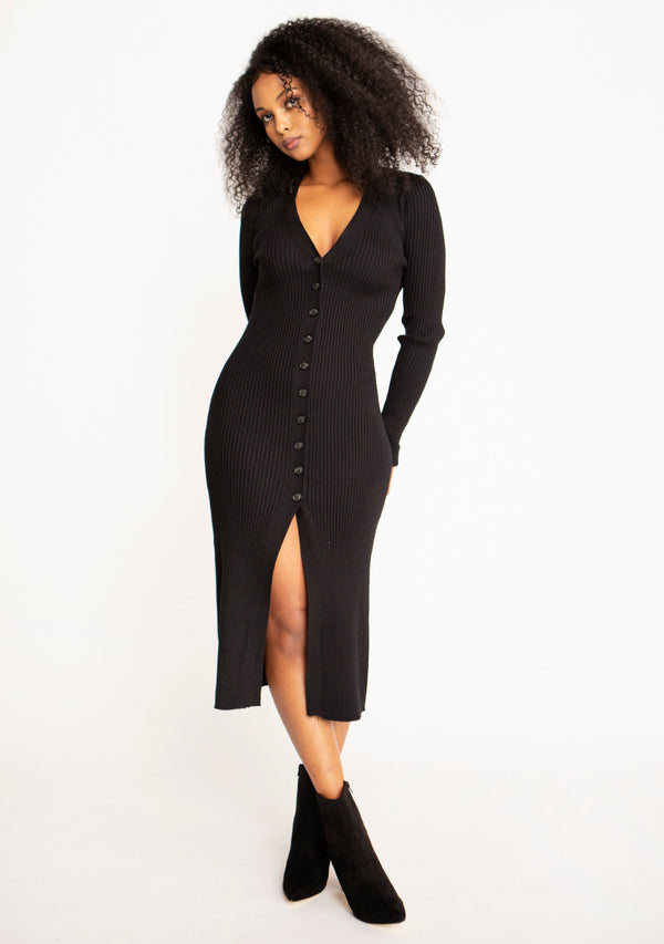 Button Ribbed Midi Dress
