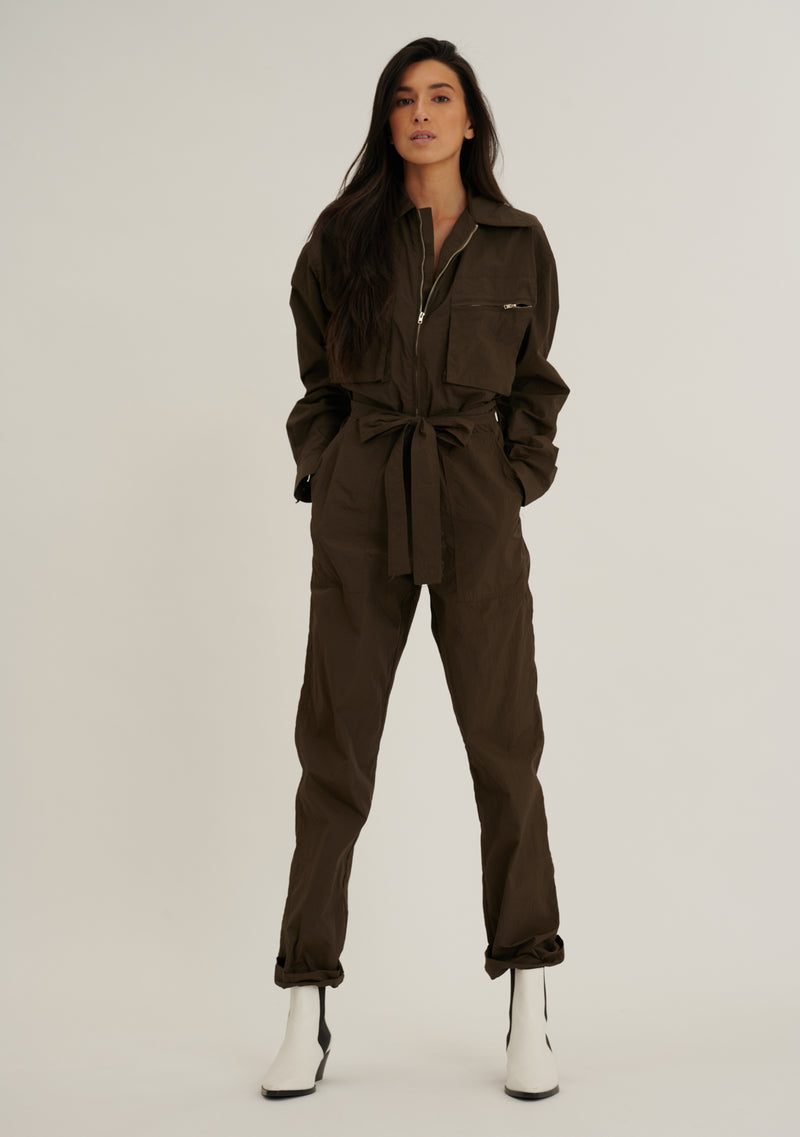 Belted Nylon Zip Jumpsuit
