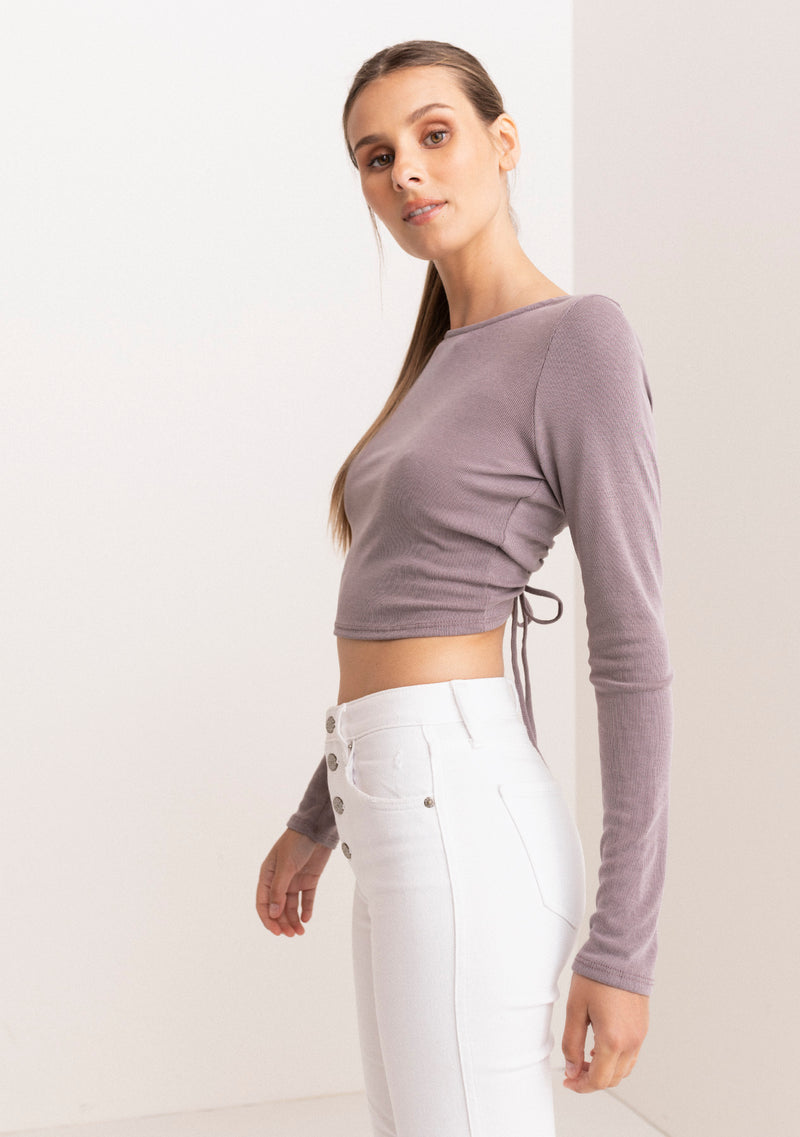 Open Tie Back Long Sleeve Top