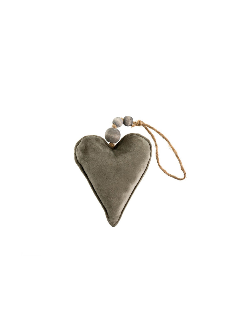 Velvet Heart Ornament Grey