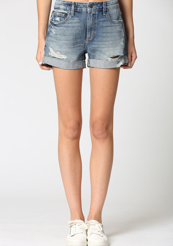 High Rise Destroy Boyfriend Cuff Shorts