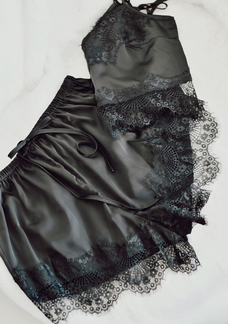 Cropped Satin Lace Cami