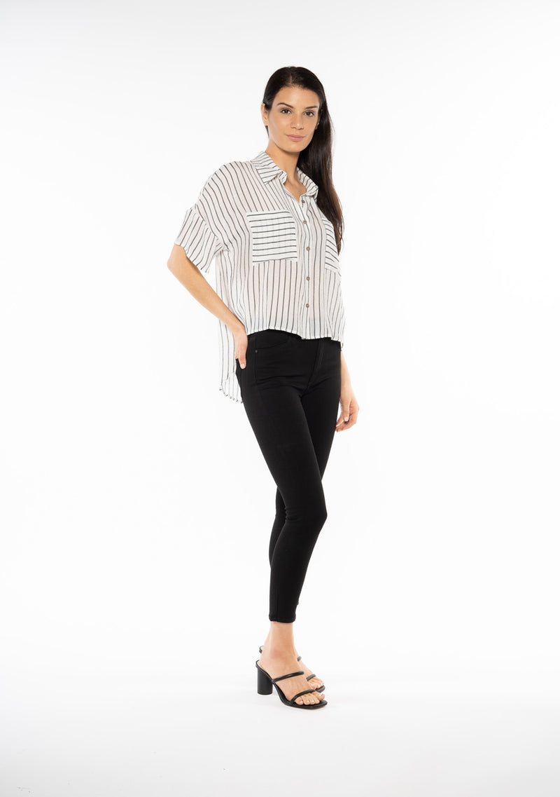 Button Up Stripe Blouse